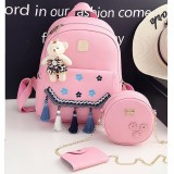 3 in 1 Plum Embroidery Tassels PU Leather Double Shoulders School Bag Travel Backpack Bag with Bear Doll Pendant (Pink)