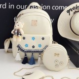 3 in 1 Plum Embroidery Tassels PU Leather Double Shoulders School Bag Travel Backpack Bag with Bear Doll Pendant (White)