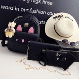 4 in 1 Rabbit pattern PU Leather Double Shoulders School Bag Travel Backpack Bag with Bear Doll Pendant (Black)