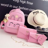 4 in 1 Rabbit pattern PU Leather Double Shoulders School Bag Travel Backpack Bag with Bear Doll Pendant (Pink)
