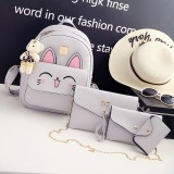 4 in 1 Rabbit pattern PU Leather Double Shoulders School Bag Travel Backpack Bag with Bear Doll Pendant (Grey)