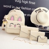 4 in 1 Rabbit pattern PU Leather Double Shoulders School Bag Travel Backpack Bag with Bear Doll Pendant (Beige)