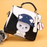 Baseball Cute Cat Pattern PU Leather Single Shoulder Bag Crossbody Bag Ladies Handbag (Black)