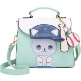 Baseball Cute Cat Pattern PU Leather Single Shoulder Bag Crossbody Bag Ladies Handbag (Blue)