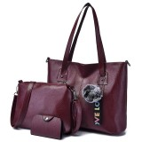 3 in 1 Casual PU Shoulder Bag Ladies Handbag Messenger Bag with Plush Ball (Wine Red)