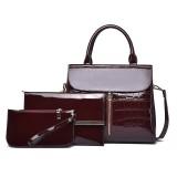 3 in 1 Crocodile Pattern PU Shoulder Bag Ladies Handbag Messenger Bag (Red)