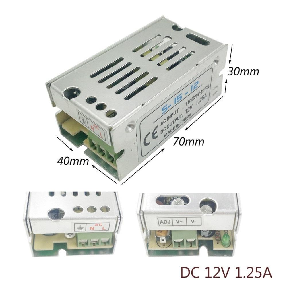 YWXLight LED Switching Power Supply 12V 1.25A 15Watts Regulated Transformer Converter AC 110V-220V to DC 12V for LED Strip etc