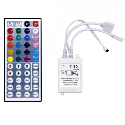 YWXLight RGB LED Controller Dimmer 4 Channels 4 Pins IR 40-keys Remote Control for 5050 LED Strip Light Flexible, DC 12-24V