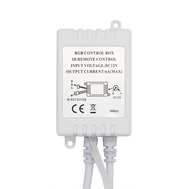 YWXLight RGB LED Controller Dimmer 4 Channels 4 Pins IR 40-keys Remote Control for 5050 LED Strip Light Flexible, DC 12-24V