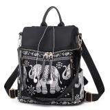 Fashion Elephant Pattern Oxford Cloth Shoulder Bag Ladies Handbag Multi-function Messenger Bag (Black)