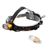 YWXLight 2LED T6 USB Rechargeable Outdoor Waterproof Headlights Camping