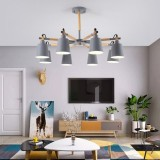 Living Room Super Bright Simple Modern Atmosphere Home Restaurant Bedroom Lamp Macaron Ceiling Lamp, 8 Heads (Grey)