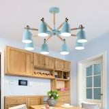 Living Room Super Bright Simple Modern Atmosphere Home Restaurant Bedroom Lamp Macaron Ceiling Lamp, 8 Heads (Blue)