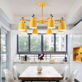 Living Room Super Bright Simple Modern Atmosphere Home Restaurant Bedroom Lamp Macaron Ceiling Lamp, 8 Heads (Yellow)