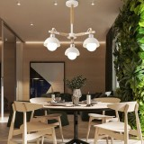 Living Room Simple Modern Atmosphere Home Bedroom Room Macaron Style LED Ceiling Lamp, 3 Heads White