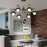 Living Room Simple Modern Atmosphere Home Bedroom Room Macaron Style LED Ceiling Lamp, 6 Heads Black