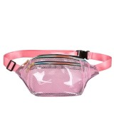 Fashion Transparent Plastic Mesh Single Shoulder Bag Colorful Zipper Ladies Messenger Bag Chest Waist Pockets Bag (Pink)