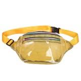 Fashion Transparent Plastic Mesh Single Shoulder Bag Colorful Zipper Ladies Messenger Bag Chest Waist Pockets Bag (Yellow)