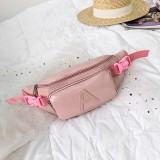 Fashion Solid Color Letter A PU Single Shoulder Bag Zipper Messenger Bag Casual Waist Chest Pockets Bag (Pink)