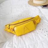 Fashion Solid Color Letter A PU Single Shoulder Bag Zipper Messenger Bag Casual Waist Chest Pockets Bag (Yellow)