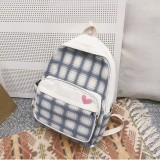 Large-capacity Heart Lattice Pattern Casual Double Shoulders Bag Casual Backpack Couple School Bag (White)