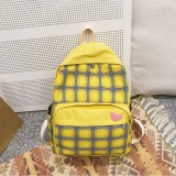 Large-capacity Heart Lattice Pattern Casual Double Shoulders Bag Casual Backpack Couple School Bag (Yellow)
