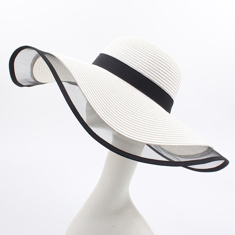 Women Mesh Vogue Sunscreen Bucket Straw Hat Outdoor Casual Travel Beach Sea Floppy Hat