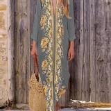 Bohemian Women V Neck Floral Print Beach Holiday Split Maxi Dress