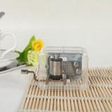 Transparent Plastic Music Box Acrylic Hand Crank Music Box Songs Multiple Tunes Decorations Birthday Gifts