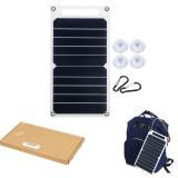 6W 6V 260x140x2.5mm S0506 Portable Semi-flexible Solar Panel with Back Junction Box Single USB Charger + 4xSucker + 2x Carabiner Kit