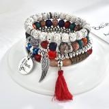 Vintage Beaded Bracelet Set Tassels Charm Multilayer Bracelet Ethnic Jewelry for Women