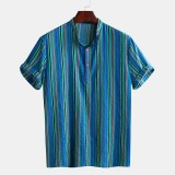 Mens Striped Vintage Ethnic Style Short Sleeve Short Shirts Tops