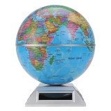 Solar Automatic Rotating Globe Decorative Desktop Earth Geography World Globe Base World Map Education Gift w/ Base