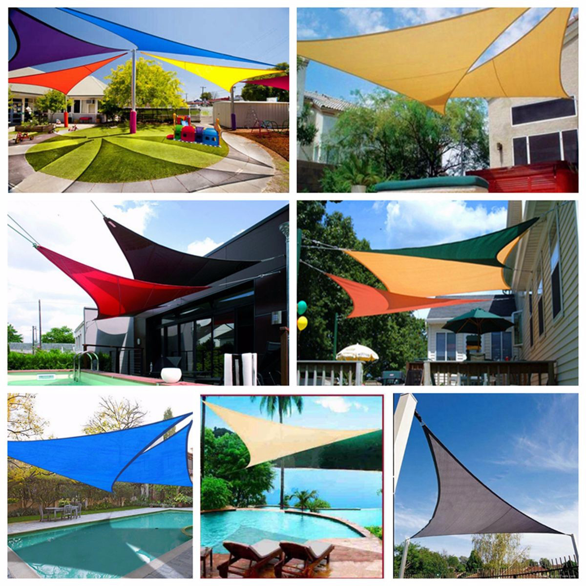 300D 160GSM Sun Shade Sail Waterproof UV Garden Patio Awning Canopy Tent Sunshade Shelter Outdoor Camping