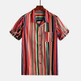 Mens Summer Stripe Printing Buttons Fly Practical Pocket Casual Shirts