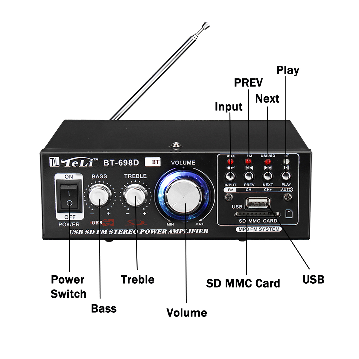 USB SD HIFI Power Amplifier HiFi Digital Audio Stereo Amplifier bluetooth FM Radio Equipment