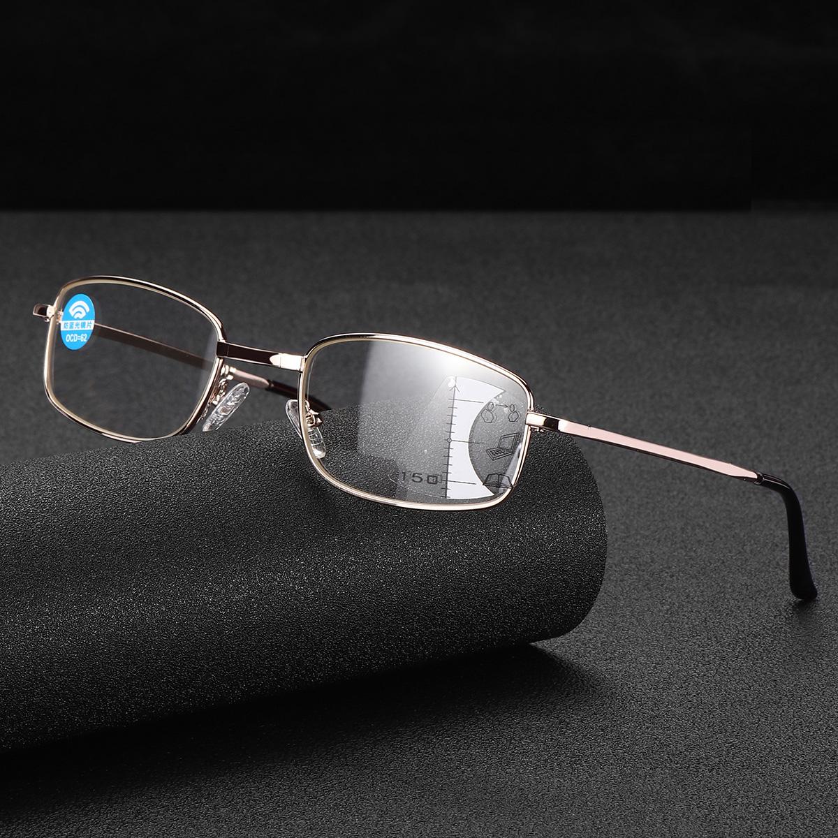Anti-fatigue Progressive Multi-focus Reading Glasses Foldable Metal Frame Anti-blue Mini Vintage Reading Glasses