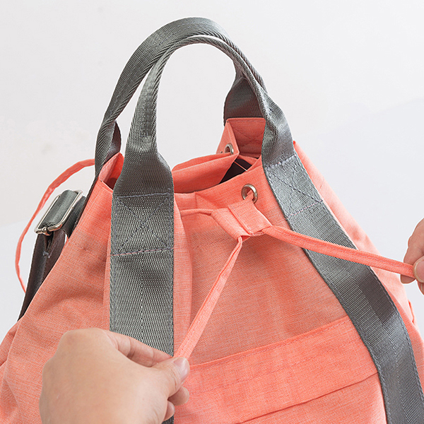 Women Waterproof Large Capacity Drawstring Travel Handbag Duffel Bag Backpack