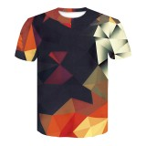 Men 3D Colorful Geometric Printed Sport Short Sleeve T-Shirts