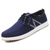 Men Canvas Daily Casual Lace Up Soft Walking Loafers