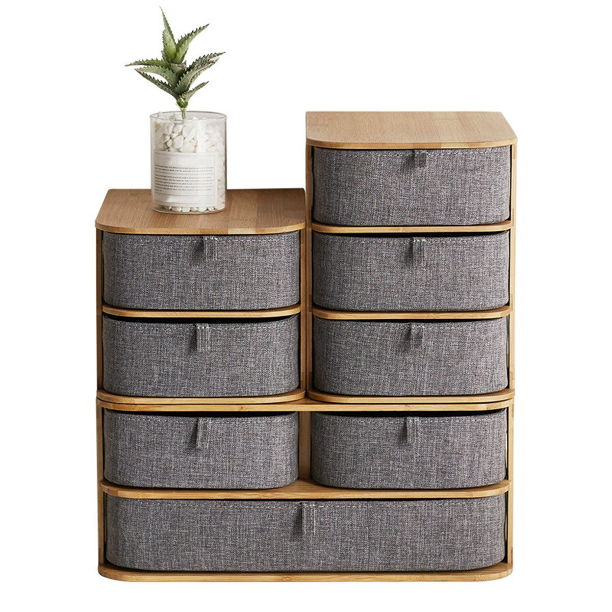 Grey Multi Layer Mini Bamboo Desktop Drawer Sundries Case Storage Box Organizer Living Room Decorations