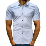 Men's Gradual Change Turn Down Collar Short Sleeve Slim Fit Casual Shirts