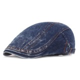Men Washed Denim Double-Sided Adjustable Painter Beret Hat Newsboy Cabbie Flat Caps