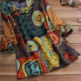 Ethnic Women Cotton O-neck Patchwork Floral Print Blouse