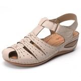 LOSTISY Lightweight Rivet Gladiator Hook Loop Soft Sandals