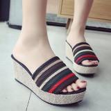 Women Slip On Wedge Shoes Stitching Stripe Platform  Sandals