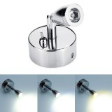 Chrome LED Spot Reading Lights with Toggle Switch 12-24V 1W for for Caravan/RV Camper Van Boat