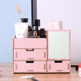 Wooden Cosmetics Storage Box with Mirror Dressing Box Storage Rack Makeup Organizer Storage Baskets