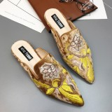 Folkways Muller Sandals Suede Embroidery Floral Slippers