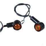 Universal 2PCS Retro Motorcycle Flasher Black Front Rear Blinker Motor Indicator Turn Lights